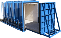 Blue crate with sliding door