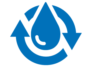 Blue icon of water droplet with rotating arrows around
